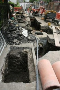 Excavations to lay the new pipes and monitoring chambers