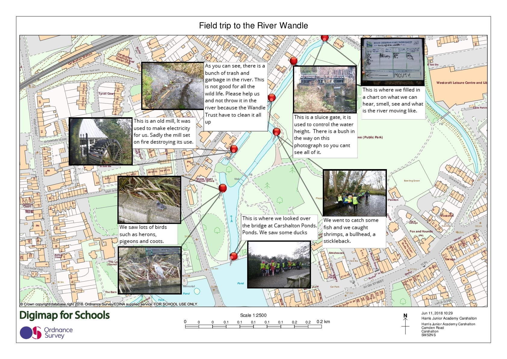 Harris Junior Academy Carshalton, Year 4. Follow up work completed using Digimap to record observations and activities.